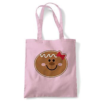 Gingerbread jente Face tote | Christmas Xmas HoHoHo sesong hilsener Merry | Gjenbrukbare shopping Cotton Canvas Long håndtert Natural shopper miljøvennlig mote