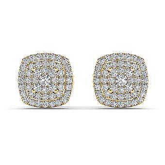 Boucles d'oreilles en diamant en diamant igi certifiés authentiques 10k jaunes 0,35 ct