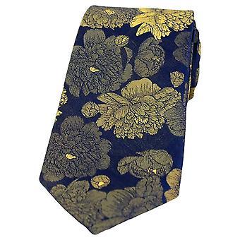 David Van Hagen große Blumen Seide Krawatte - Marine