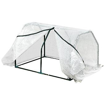 Outsunny Greenhouse Tunnel Shelter Plants Vegetables Compact Portable w/ Steel Frame Mesh Cover Zip 60x99cm Fastening White