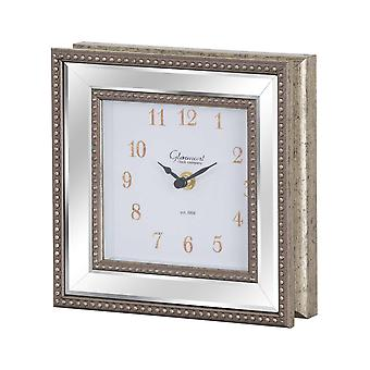 Hill Interiors Square Bevelled Mirror Framed Clock