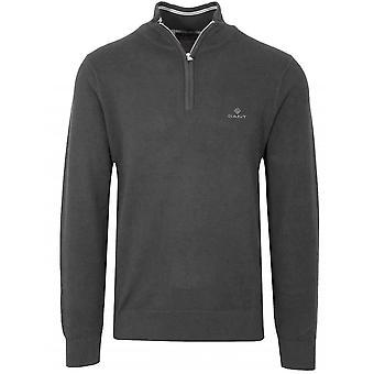 GANT GANT Half Zip Grey Pique Sweatshirt
