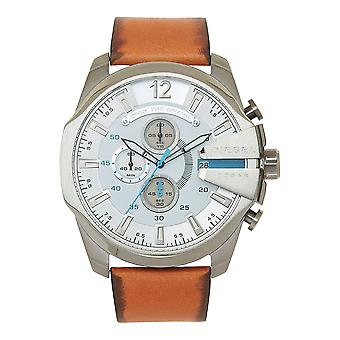 Relojes diésel Dz4280 Mega Chief Tan Leather Chronograph Men's Reloj