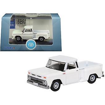 1965 Chevrolet C10 Stepside Pickup Truck White 1/87 (HO) Scale Diecast Model Car by Oxford Diecast