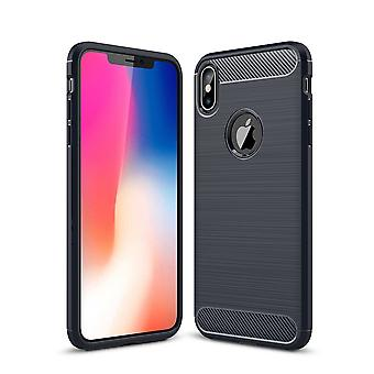 For iPhone XS MAX Cover,Carbon Fiber Texture Shockproof Shielding Case,Navy Blue