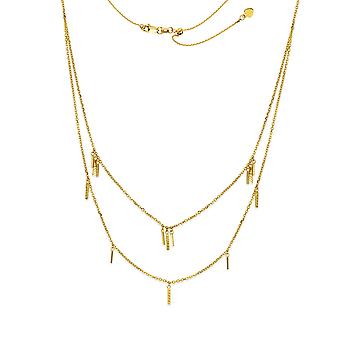 14k Yellow Gold Sparkle Cut Bars Duet Plus Adjustable Necklace 22 Inch Jewelry Gifts for Women