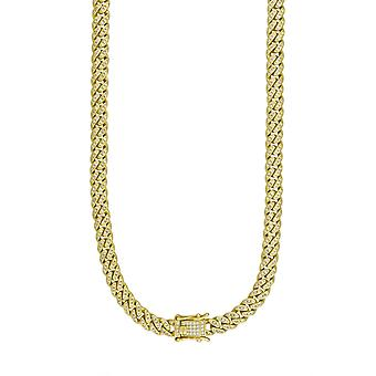 925 Sterling Silver Yellow Tone Mens Cubic Zirconia Miami Curb Chain 6.5mm  16 Inch Jewelry Gifts for Men