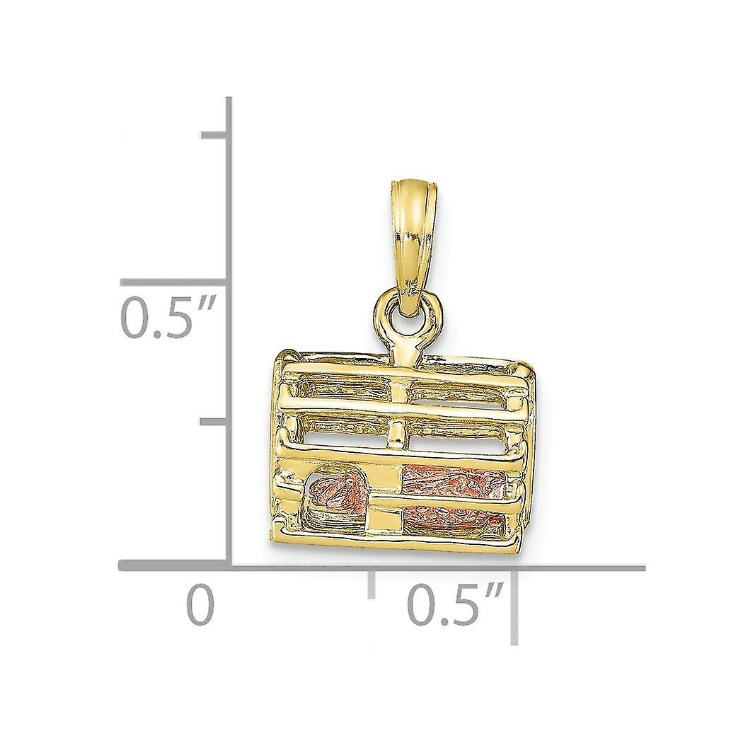 10k Gold 3 d Lobster(pink)in Trap Moveable Charm Pendant Necklace Jewelry Gifts for Women