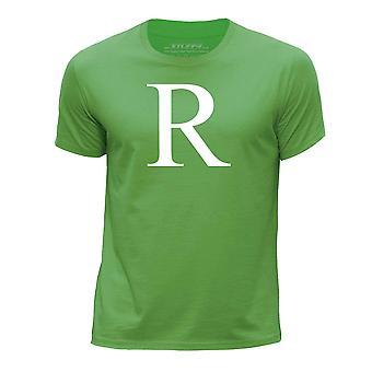 STUFF4 Boy's Round Neck T-Shirt/Alphabet Letter Initial R/Green
