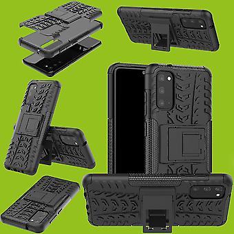 For Samsung Galaxy S20 G980F Hybrid tilfelle 2-delt utendørs svart telefon tilfelle deksel beskyttelse