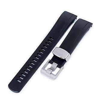 Strapcode rubber watch strap 22mm crafter blue - black rubber curved lug watch strap for seiko samurai srpb51