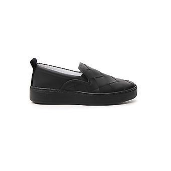 Bottega Veneta 578393vbpg11000 Donne's Black Leather Slip On Sneakers