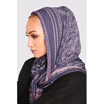 Silk satin scarf in violet floral print