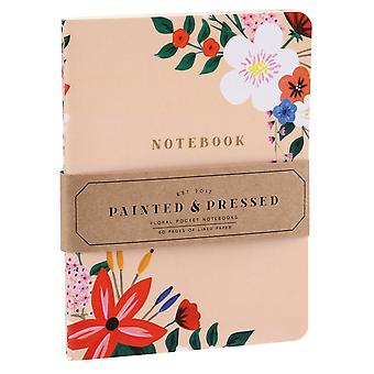 Set of 2 Foral A6 Lined Notebooks - Peach