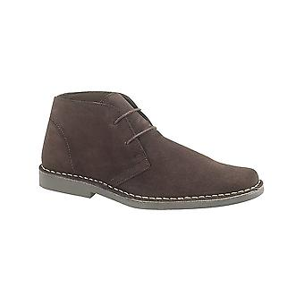 Roamers Dark Brown Real Suede 2 Eyelet Desert Boot Textile Lining Tpr Sole