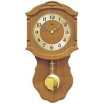 AMS 964/4 Wall Clock Quartz with Pendulum Golden Wood Oak Pendulum Clock