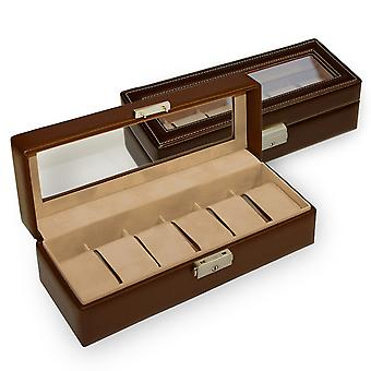 Sacher watch case watch box NEW CLASSIC brown for 6 watches lockable window
