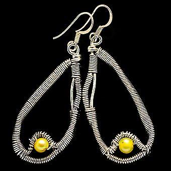"Yellow Cultured Pearl Earrings 2 1/4"" (925 Sterling Silver)  - Handmade Boho Vintage Jewelry EARR400515"