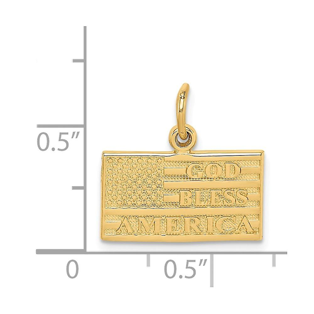 14k Yellow Gold Solid Polished Textured back Not engraveable God Bless America Flag Charm Pendant Necklace Measures 13x1