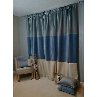 McAlister têxteis Patchwork de veludo azul, ouro + cinza cortinas