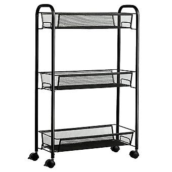 3-Tier Storage Rolling Trolley Cart Mesh Shelves Kitchen Rack Storage Carts