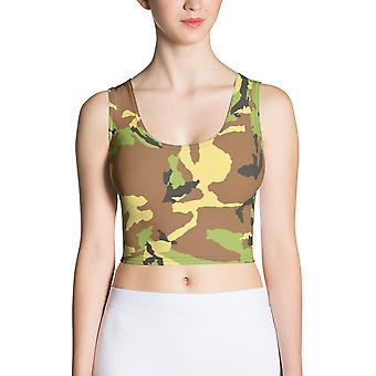 Fitted Crop Top | Light Green Camouflage