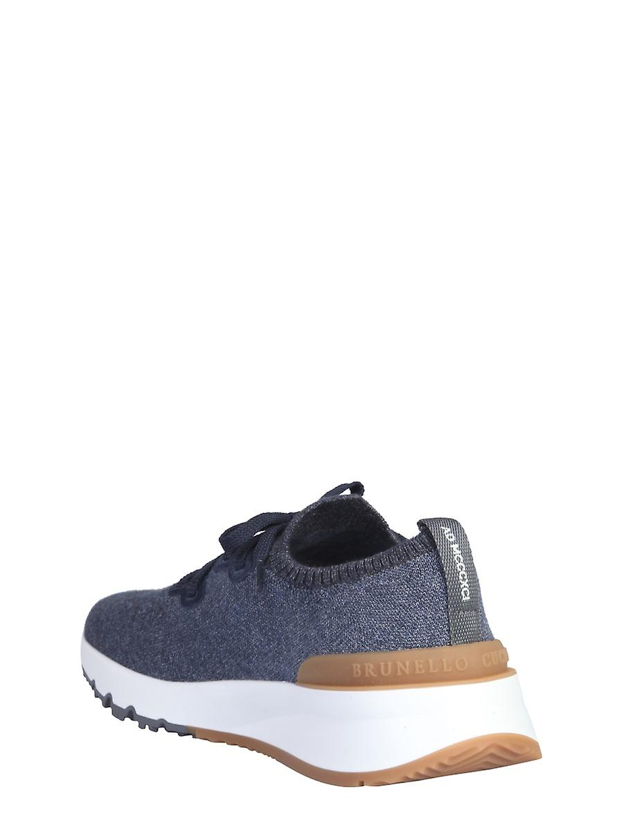 Brunello Cucinelli Mzukis0250co250 Men's Blue Nylon Sneakers