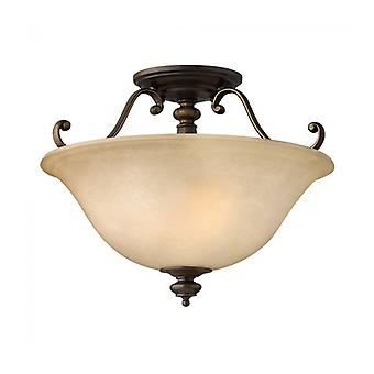 Dunhill Ceiling Lamp, Bronze And Glass