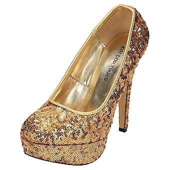 Koi Footwear Stiletto High Heel Court Shoes Platform Sequins
