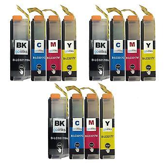 3 sets inktcartridges ter vervanging van Brother LC3217 Compatible/non-OEM by Go-inkten (12 inkten)