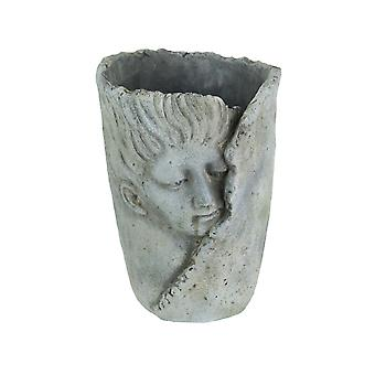 Weathered Finish Concrete Leaf Wrap Face Planter / Vase 8 Inches High