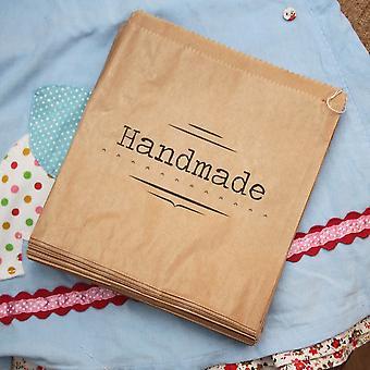 Luck And Luck Kraft Brown 'Handmade' Bag - Craft / Shop Paper Bags x 50