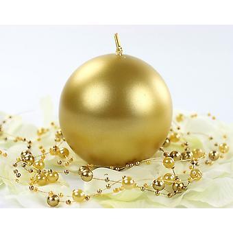 Enkele Metallic goud 8cm ongeparfumeerde bol kaars