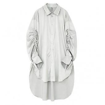 Pleated Men's manga larga suelta camisa delgada irregular