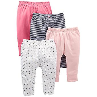 Simple Joys by Carter's Baby Girls' 4-Pack Pant, Navy Stripe, White Dot, Pink...