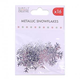 Simply Creative Christmas Metallic Snowflakes Silver (16pcs) (SCTOP051X19)