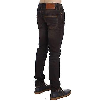 Brown Wash Cotton Stretch Slim Fit Jeans -- SIG3615557