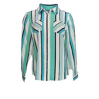 Denim & Co. Frauen's Top gestreift Kragen Button Down Blue