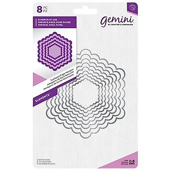 Géminis scalloped Edge Hexagon Elements Dies