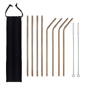 10PCS 304 Stainless Steel Metal Straws with Canvas Bag Gold