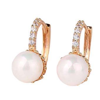 14K or blanc plaqué perle perle solitaire boucles d'oreilles cerceau pour femme