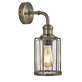Searchlight Pipes - 1 Ljus vägg Ljus Antik Mässing, Glas Skugga, E27