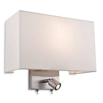 Firstlight Fargo - 1 lys innendørs vegg lys med leselampe børstet stål, krem skygge, E27