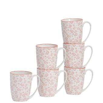 Nicola Spring 6 Piece Daisy Patterned Tea and Coffee Mug Set - Large Porcelain Latte Mugs - Coral - 360ml