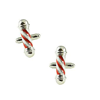 Ties Planet Red & White Barber's Pole Novelty Cufflinks