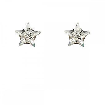 Beginnings Sterling Silver Crystal Star Earrings A2037C