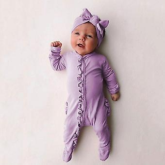 Spring Solid Ruffle Romper For Baby