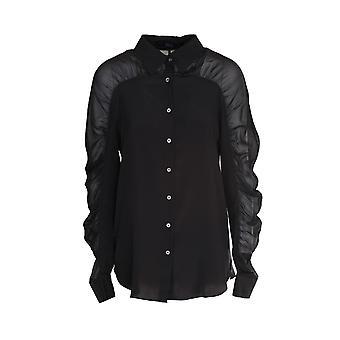 Karl Lagerfeld 205w1602black Mujer's Camisa de seda negra