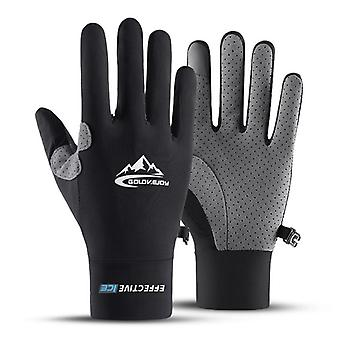 Touch Screen Full Finger Gloves Ice Silk Sunscreen Motorcycle Non-slip Gloves