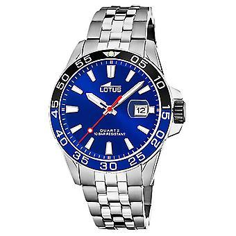 Lotus Men's Stainless Steel Bracelet   Blue Dial   Black/Blue Bezel L18766/1 Watch